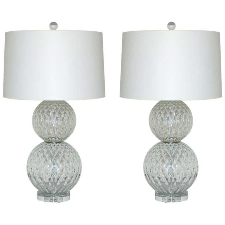 Pair Of Vintage Murano Stacked Ball Lamps In Crystal 1