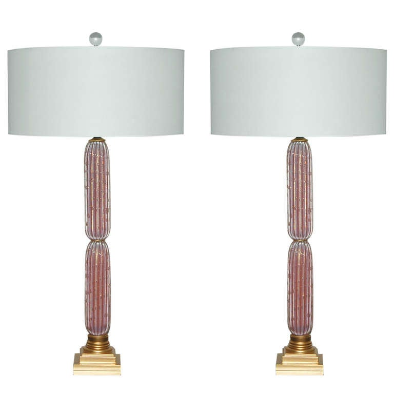 Pair Of Vintage Opaline Murano Column Lamps In Salmon With