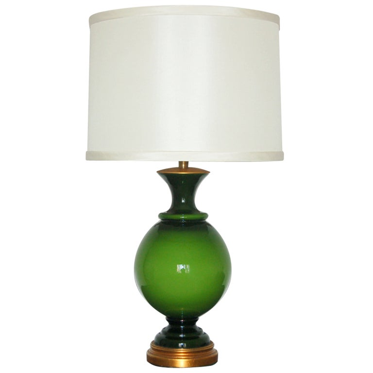 The Marbro Lamp Company   Swedish Glass Table Lamp In Brilliant Lime Green 1