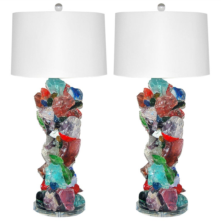 Rock candy sofa table lamps by swank lighting at 1stdibs for Sofa table lighting