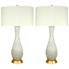 White Murano Table Lamps with Copper Bits
