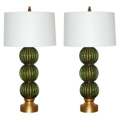 Barovier & Toso - Green Stacked Three Ball Murano Lamps