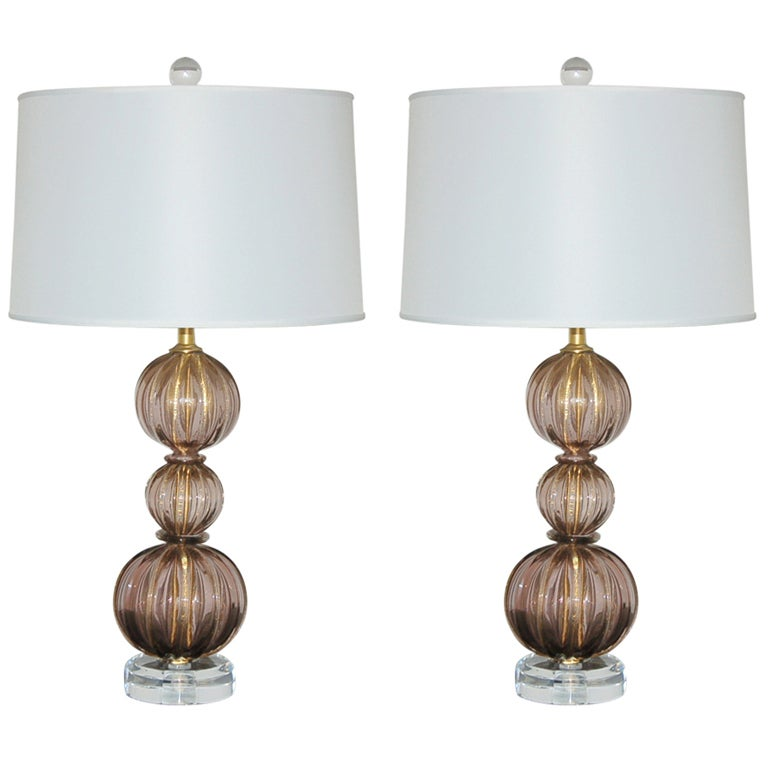 Amethyst Plum Stacked Three Ball Vintage Murano Lamps At