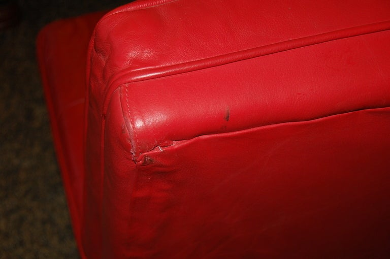 Knoll Armless 2 Seat Sofa In Lipstick Red Leather At 1stdibs