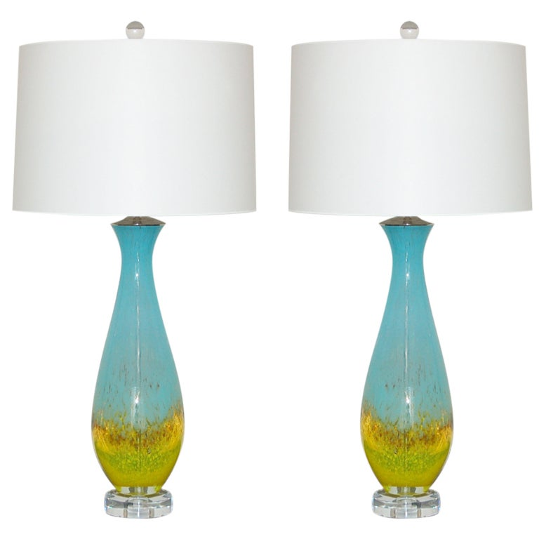 Pair Of Vintage Italian Hand Blown Glass Lamps In