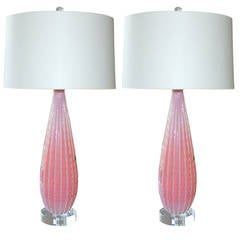 Pink Murano Opaline Table Lamps by Barbini