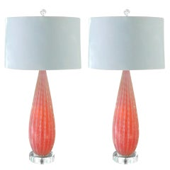 Pair of Vintage Lamps in Strawberry Opaline by Alfredo Barbini