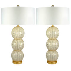 Pair of Murano Stacked Ball Table Lamps in White and Gold