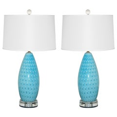 Pair of Vintage Murano Peacock Lamps by Galliano Ferro