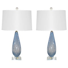 Pair of Vintage Murano Bedside Table Lamps by Alfredo Barbini