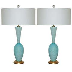 Blue Vintage Italian Murano Table Lamps