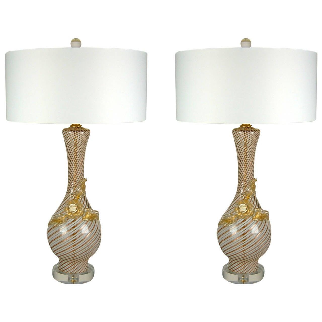 Murano gl floor lamp murano gl floor lamps 173 for at 1stdibs - Pair Of Vintage Filigrana Murano Lamps By Dino Martens