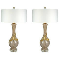 Pair of Vintage Filigrana Murano Lamps by Dino Martens