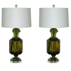 Pair of Vintage Lemon-Lime Murano Lamps by The Marbro Lamp Company