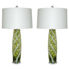Pair of Vintage Chartreuse Italian Lamps with White Ribboned Swirl