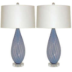 Pair of Vintage Murano Opaline Lamps by Alfredo Barbini