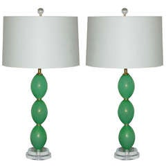 Pair of Vintage Murano Stacked Egg Lamps in Lime Mint