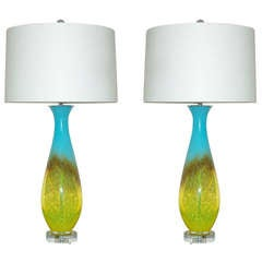 Pair of Vintage Italian Handblown Glass Lamps in Turquoise and Yellow