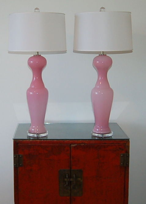 Pink Cased Glass Murano Lamps from the 1960s image 8