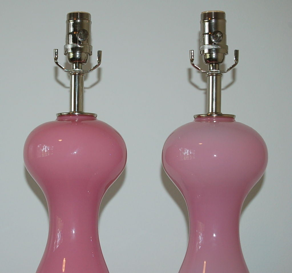 Matched Pair of Vintage Opaline Murano Lamps in Pale Pink For Sale 2