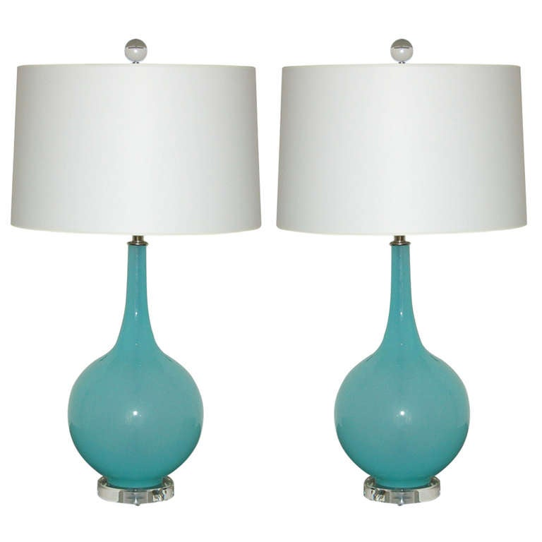Pair Of Aqua Mist Murano Table Lamps On Lucite At 1stdibs