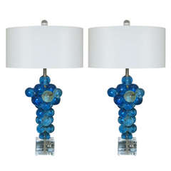 Pair of Vintage Resin Bubble Lamps by Silvano Pantani in Blue Green, 1966