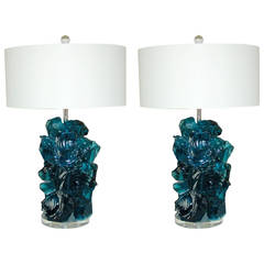 Pair of Rock Candy Lamps by Swank Lighting in Teal