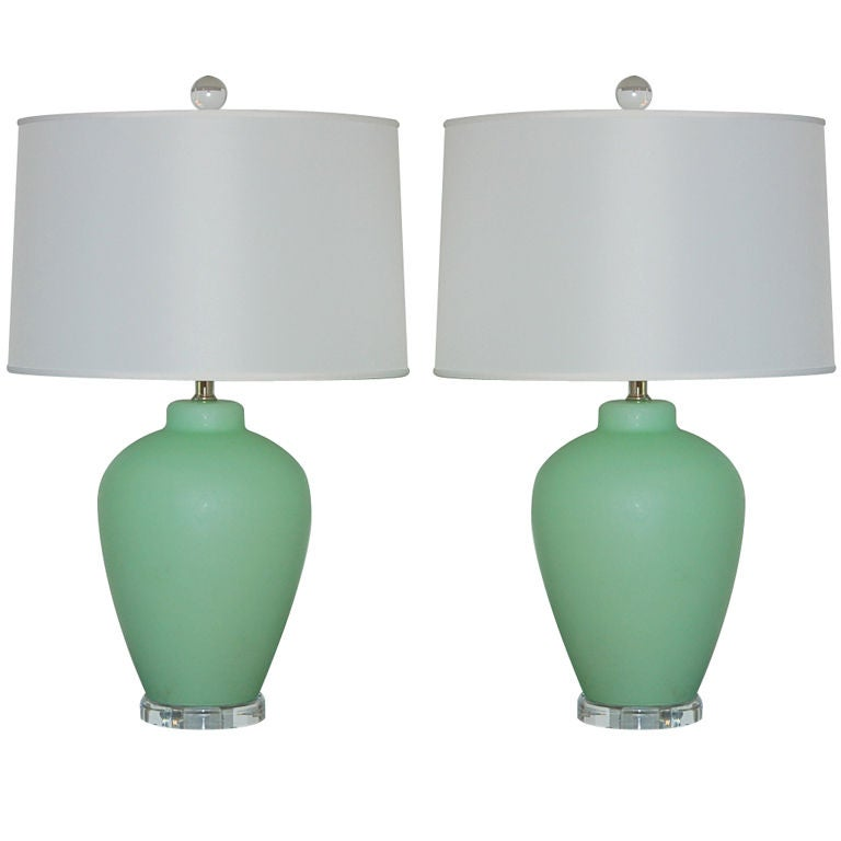 vintage murano lamps in mint green on lucite at 1stdibs. Black Bedroom Furniture Sets. Home Design Ideas
