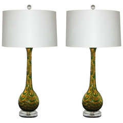 Pair of Vintage Murano Glass Lamps - Emerald Green on Butterscotch