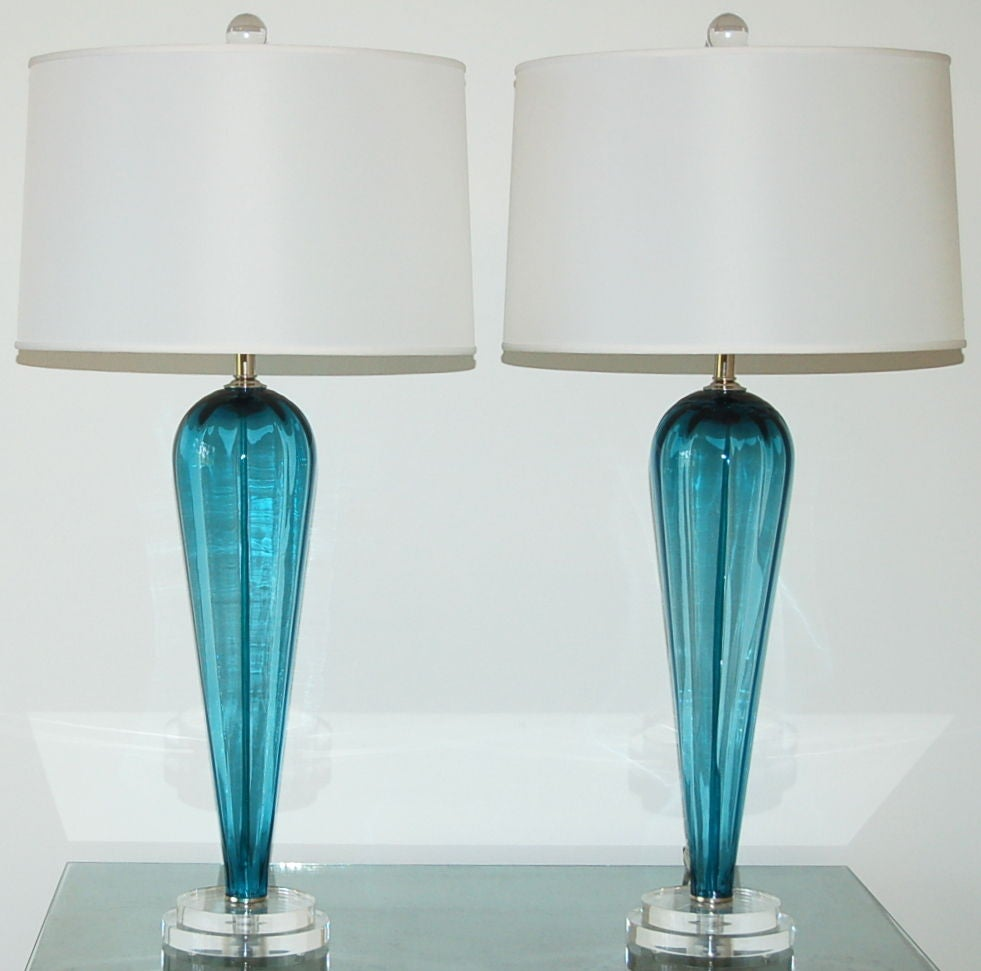 Matched Pair Of Vintage Murano Table Lamps In Teal Blue For Sale At 1stdibs