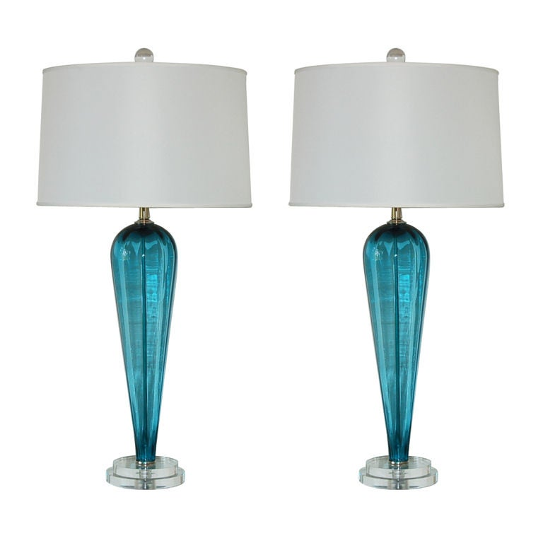 Matched Pair Of Vintage Murano Table Lamps In Teal Blue At