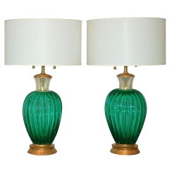 Archimede Seguso Vintage Murano Lamps in Emerald Green