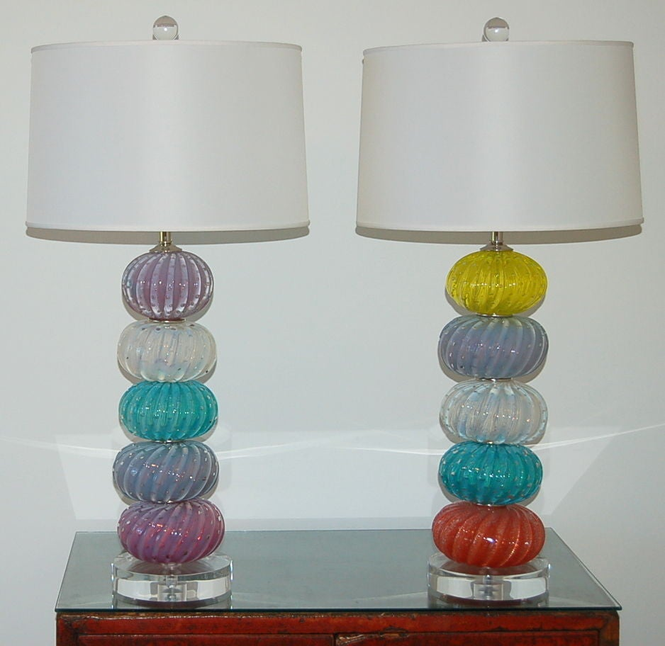 Vintage murano multi color stacked font table lamps at 1stdibs for Table th font color