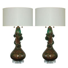 Matched Pair of Climbing Rose Lamps of Copper and Green by Marbro