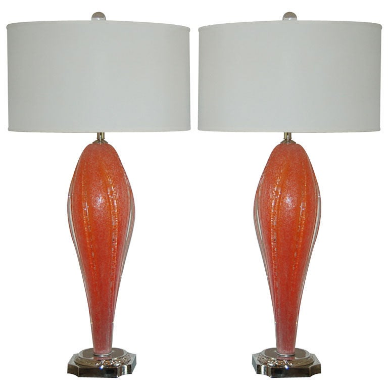 rare melon orange vintage winged murano lamps for sale at 1stdibs. Black Bedroom Furniture Sets. Home Design Ideas