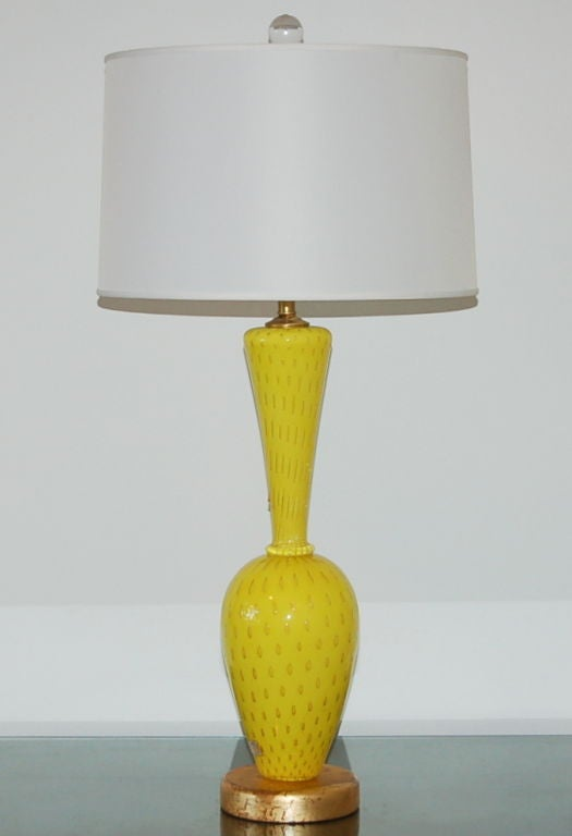 Murano Glass Lamp In Canary Yellow With Gold For Sale At 1stdibs