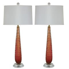 Vintage Murano Teardrop Lamps in Berry and Gold