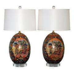 Vintage Pair of Satsuma Jumbo Egg Lamps