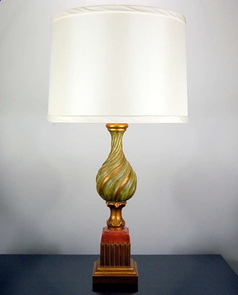 Pair of vintage carved wooden italian table lamps by for Vintage wooden table lamps