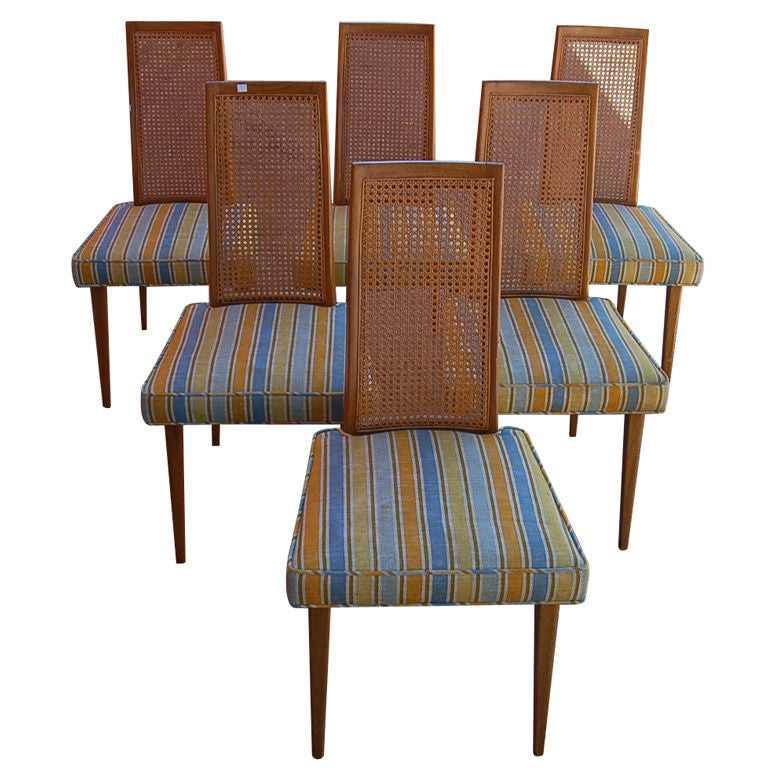 Harvey Probber Striped Dining Chairs Set Of 6 At 1stdibs