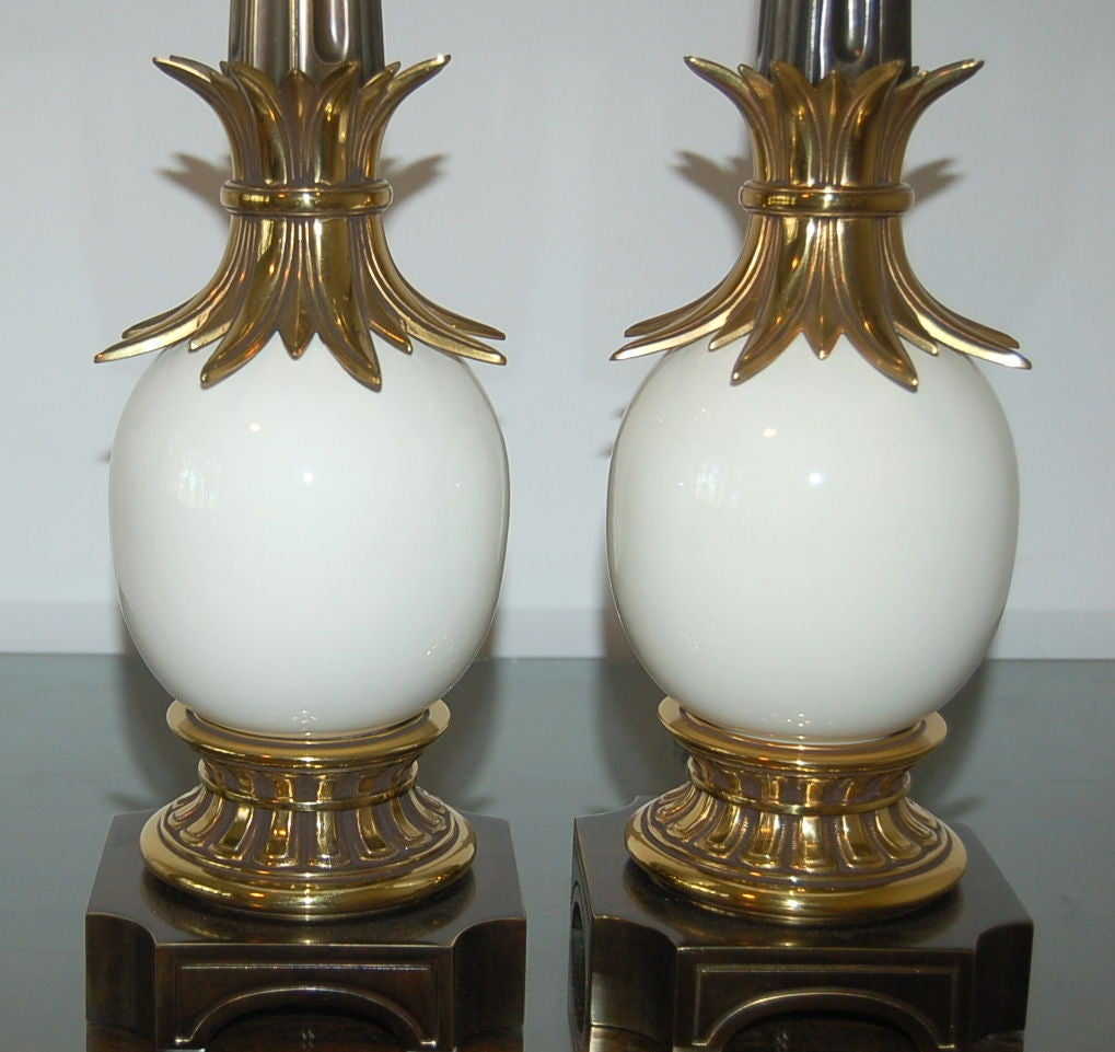 Pair Of Stiffel Ostrich Egg Lamps From The 1950s For Sale