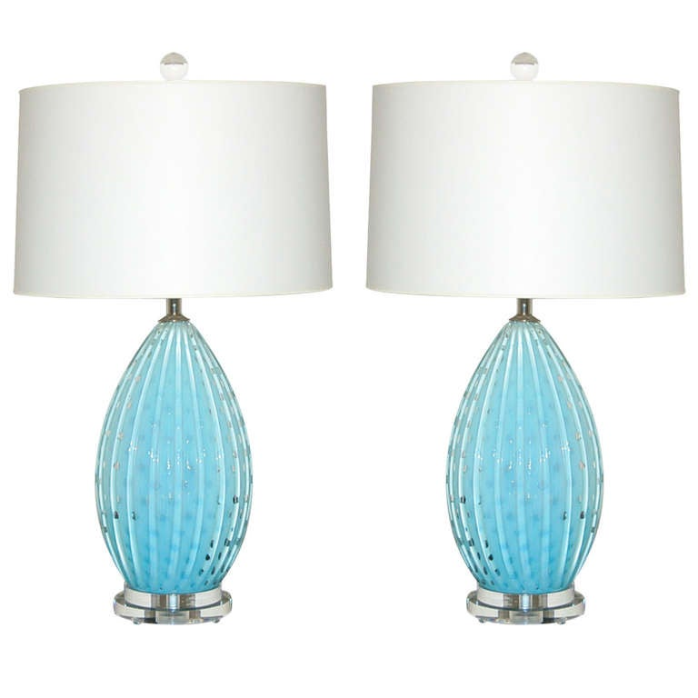 Pair Of Vintage Murano Lamps By Alfredo Barbini In Robin S
