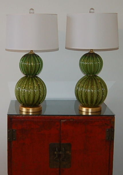 Vintage Green Stacked Murano Lamps by Barovier & Toso 10