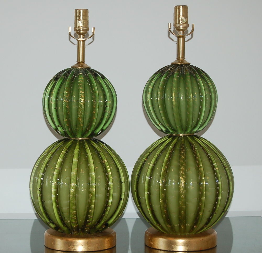Vintage Green Stacked Murano Lamps by Barovier & Toso 3