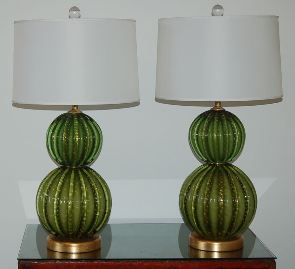 Vintage Green Stacked Murano Lamps by Barovier & Toso 4