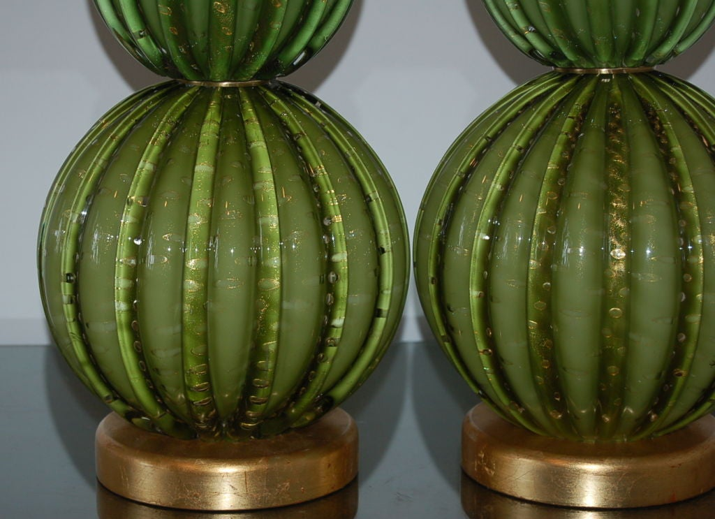 Vintage Green Stacked Murano Lamps by Barovier & Toso 5