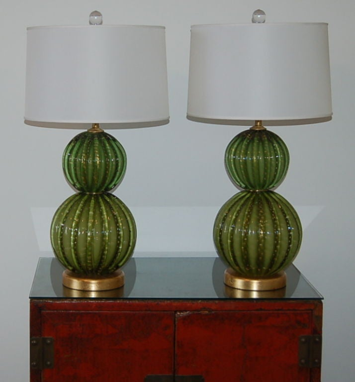 Vintage Green Stacked Murano Lamps by Barovier & Toso 2
