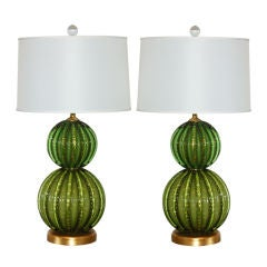 Vintage Green Stacked Murano Lamps by Barovier & Toso