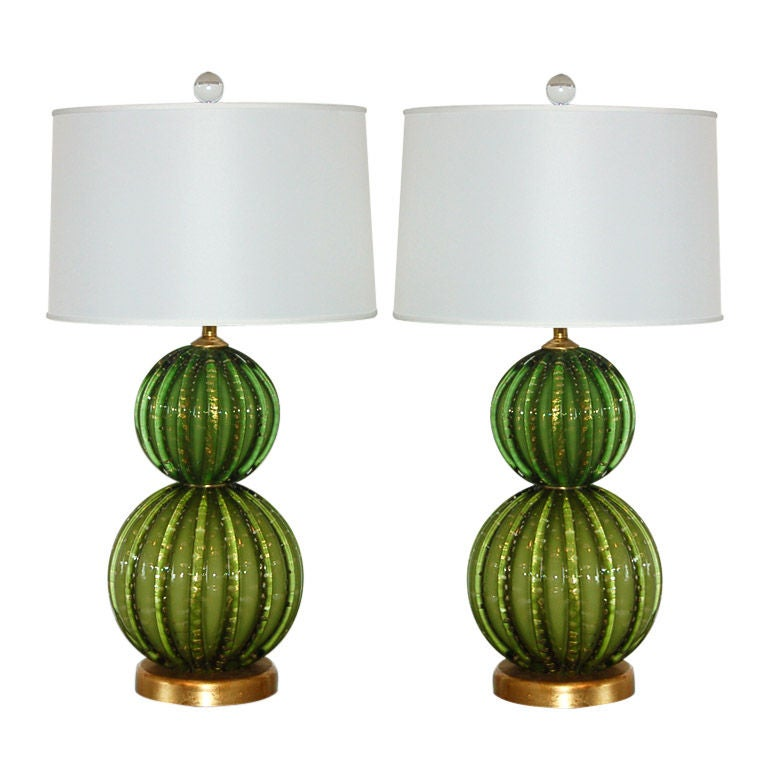 Vintage Green Stacked Murano Lamps by Barovier & Toso 1
