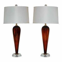 Vintage Murano Teardrop Lamps in Cognac